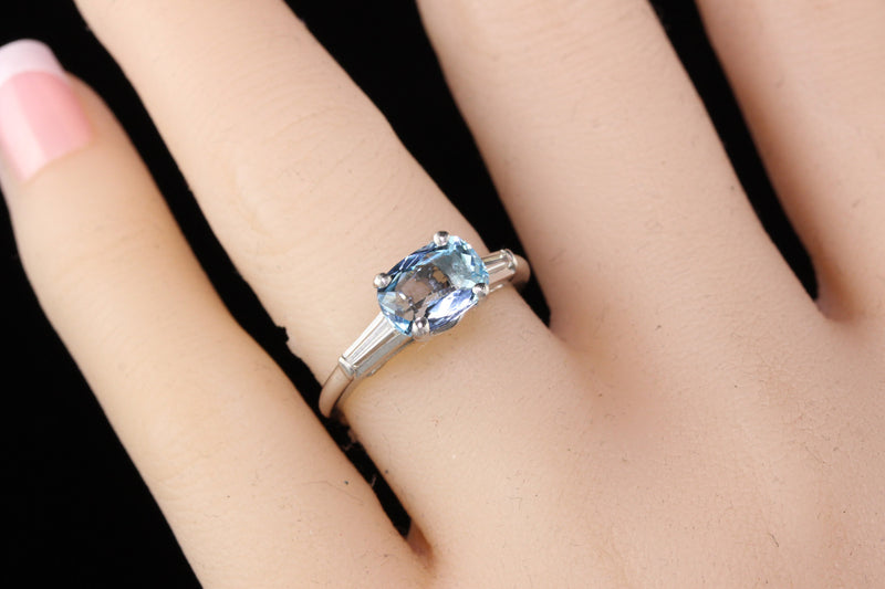 Antique Art Deco Platinum Diamond and Aquamarine Engagement Ring