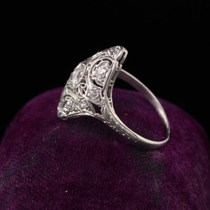 Antique Art Deco Platinum Rose Cut Diamond Shield Engagement Ring