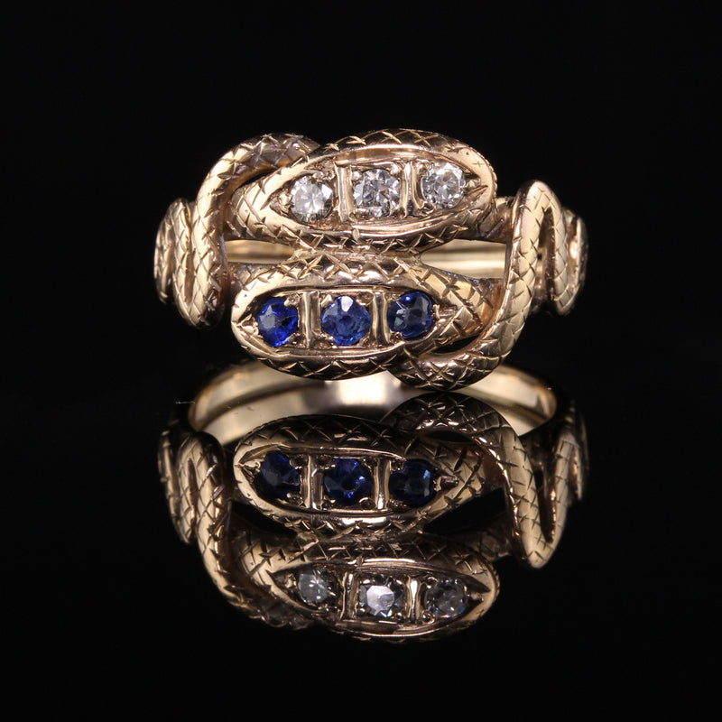 Antique Victorian 14K Yellow Gold Diamond and Sapphire Double Snake Ring