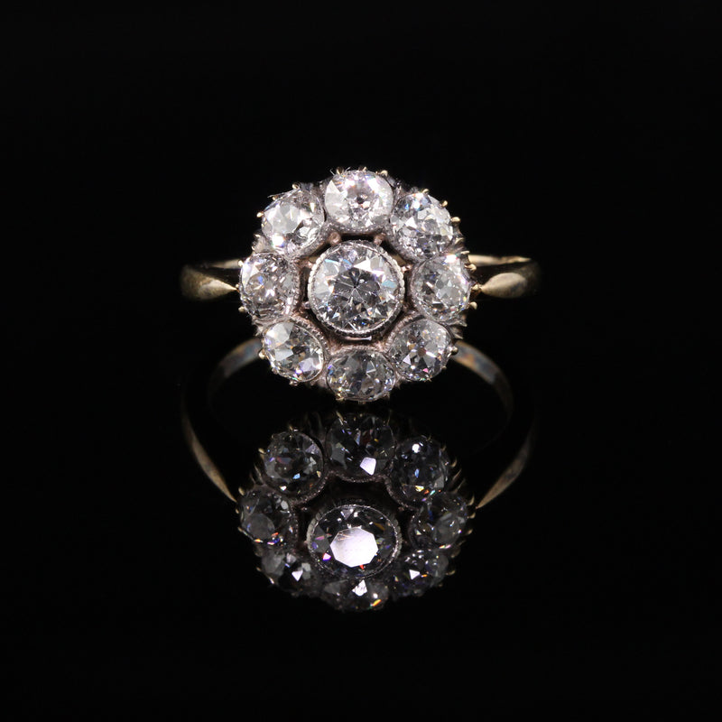 Antique Victorian 18K Yellow Gold Old Mine Diamond Cluster Engagement Ring