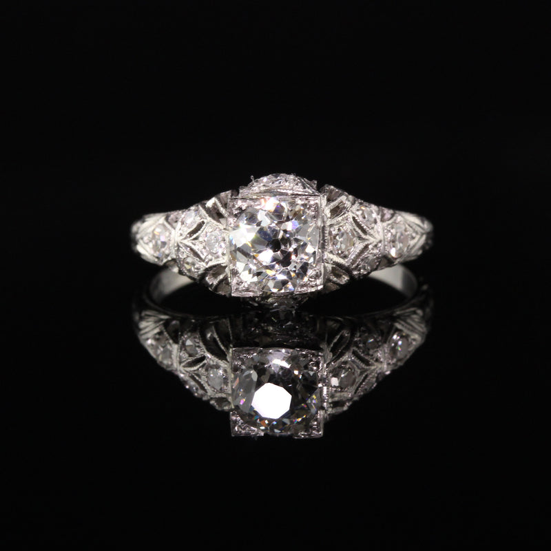 Antique Art Deco Platinum Old Mine Diamond Engagement Ring