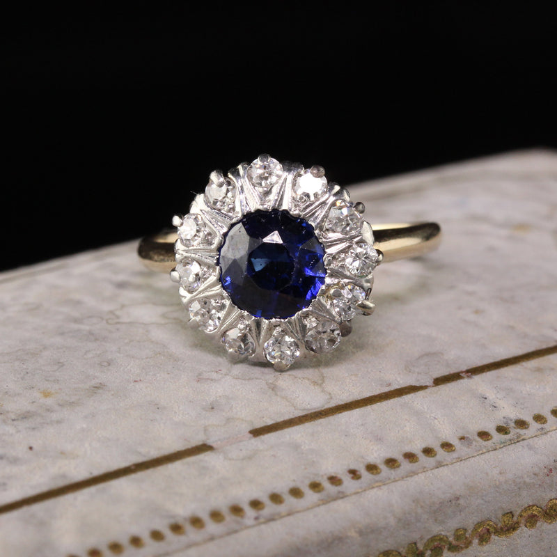 Antique Victorian 14K Yellow Gold Old Mine Cut Diamond Sapphire Engagement Ring