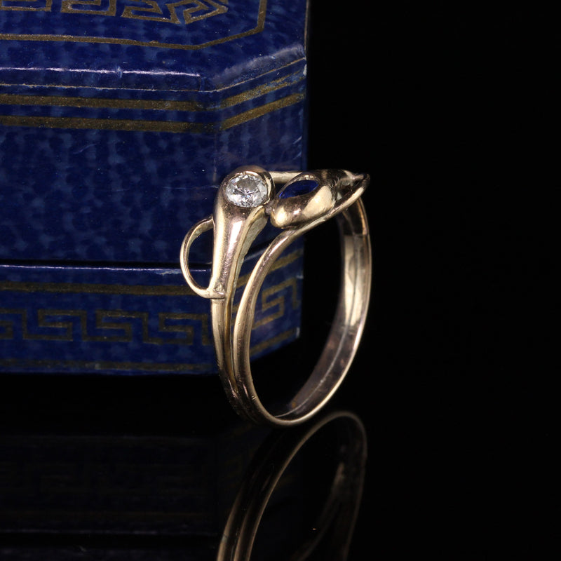 Antique Victorian 12K Yellow Gold Diamond and Sapphire Double Snake Ring
