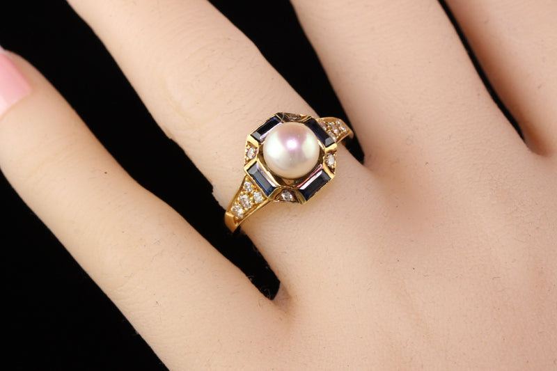 Vintage Estate Honora 18K Yellow Gold Diamond Sapphire and Pearl Ring