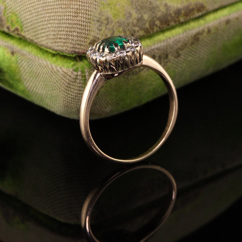 Antique Victorian 14k Yellow Gold Old Mine Diamond and Emerald Engagement Ring