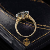 Antique Victorian 14K Yellow Gold Radiant Aquamarine Solitaire Engagement Ring