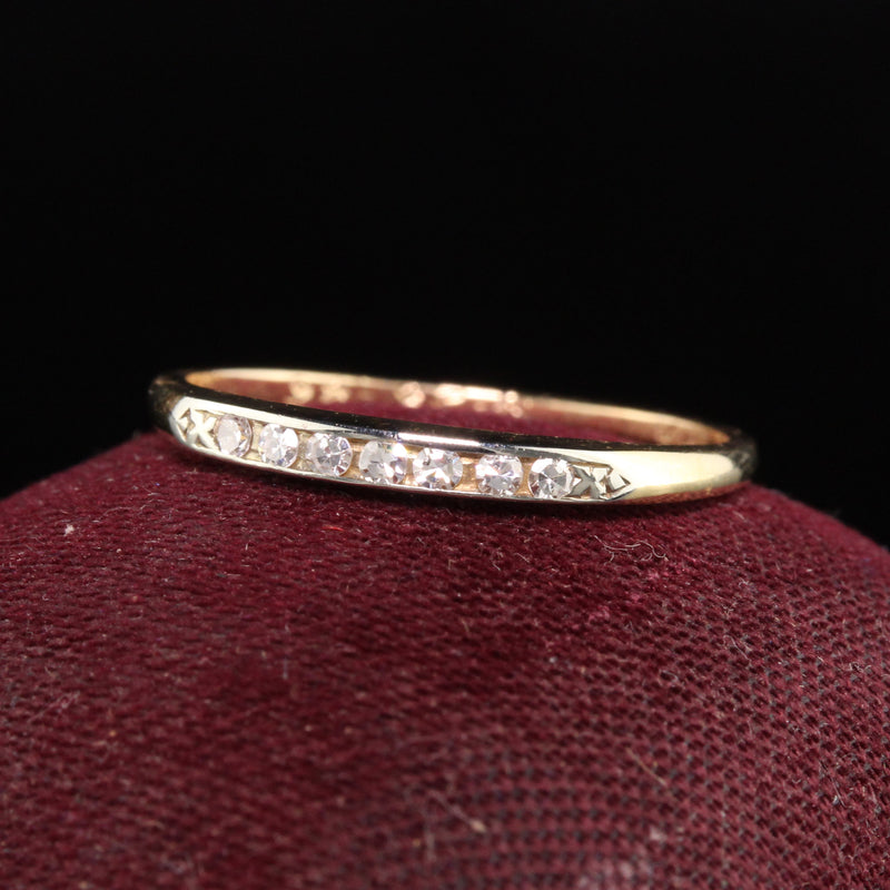 Antique Art Deco 14K Yellow Gold Single Cut Diamond Wedding Band
