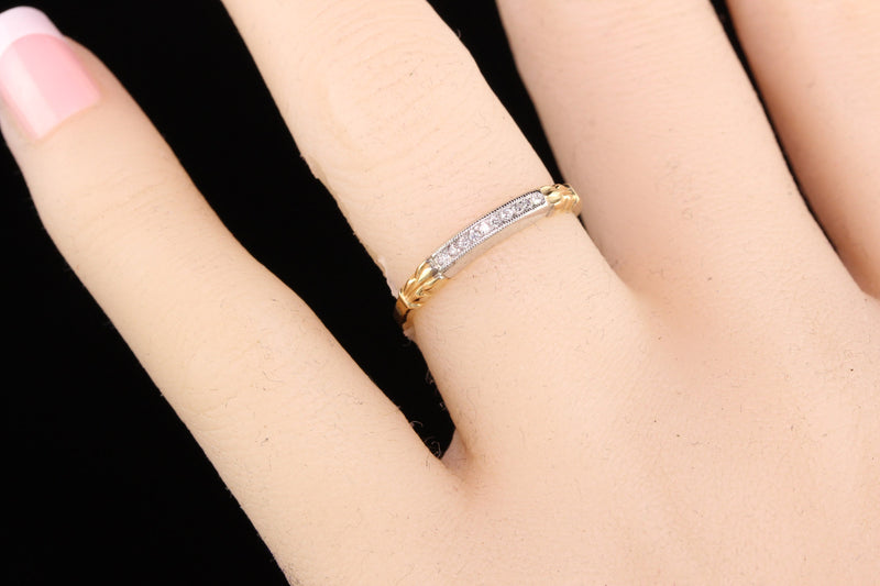 Antique Art Deco 14K Yellow Gold Palladium Single Cut Diamond Wedding Band