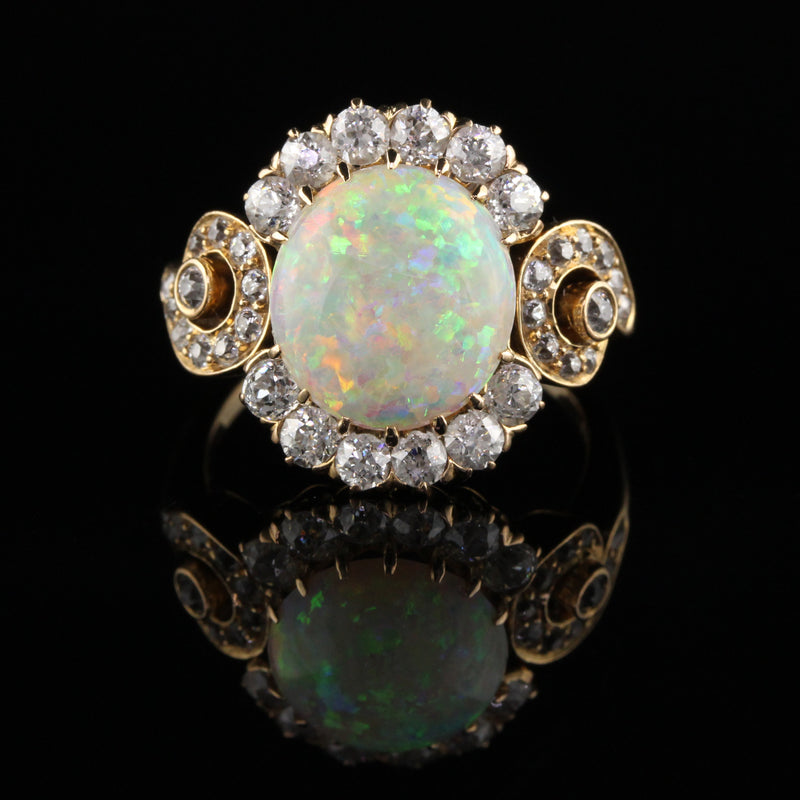 Antique Victorian 18K Yellow Gold Old Mine Diamond and Opal Ring