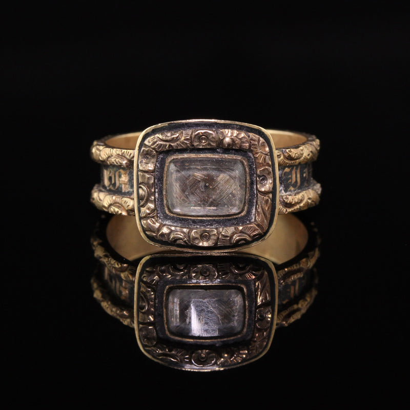 Antique Victorian 14K Yellow Gold Engraved Black Enamel Mourning Ring