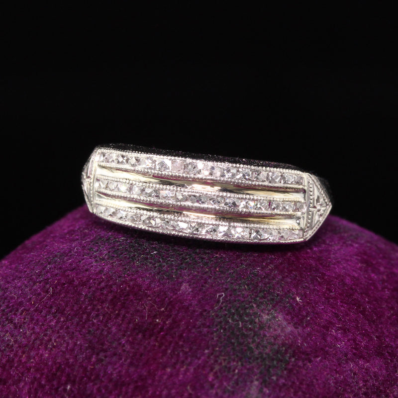 Antique Art Deco Platinum French Cut Diamond Three Row Band