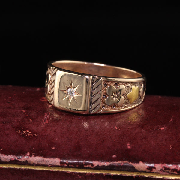 Antique Victorian 14K Rose Gold Engraved Diamond Band Ring