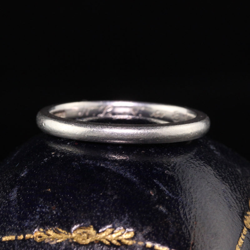 Circa 1914 - Antique Edwardian Platinum Spaulding and Co Engraved Wedding Band - Size 8 1/4