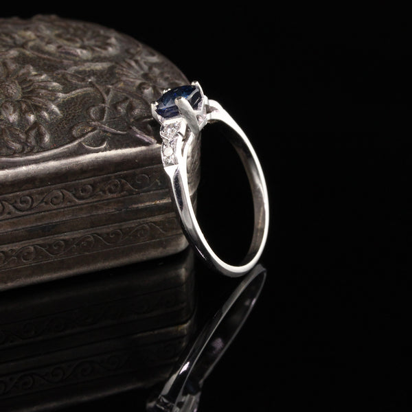 Antique Art Deco Platinum Diamond and Cushion Sapphire Engagement Ring