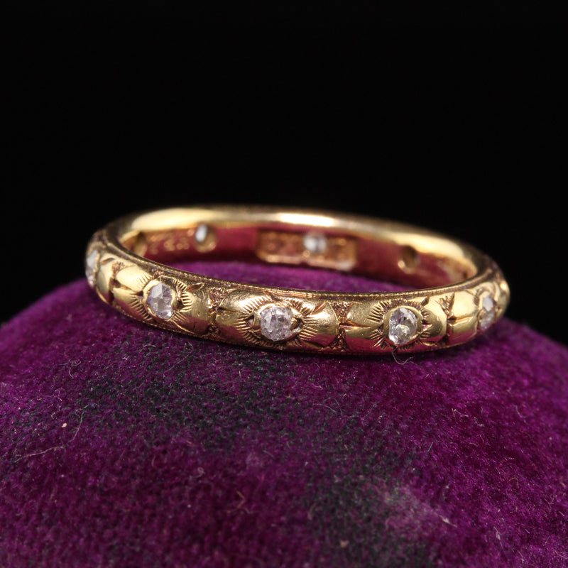 Antique Art Deco 18K Yellow Gold Old European Cut Diamond Eternity Band