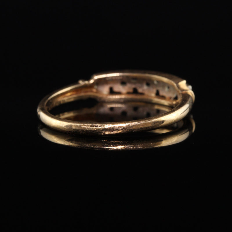 Antique Art Deco 14K Yellow Gold Two Tone Link Wedding Band