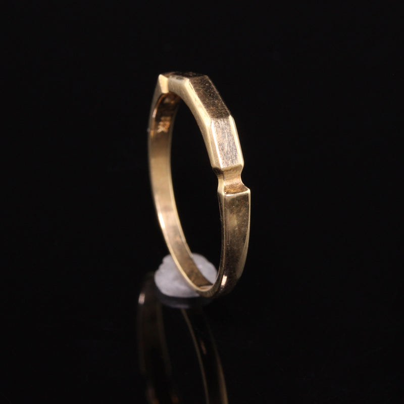 Antique Art Deco 14K Yellow Gold Geometric Wedding Band - Size 7