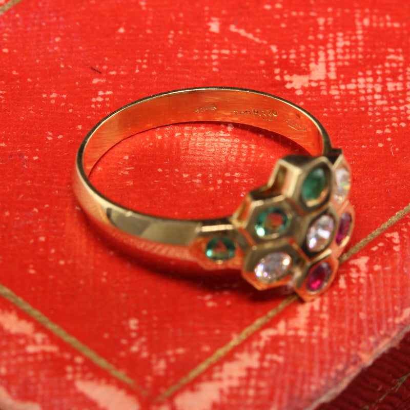 Vintage 18K Yellow Gold Leo Pizzo Diamond Emerald Ruby Honey Comb Ring