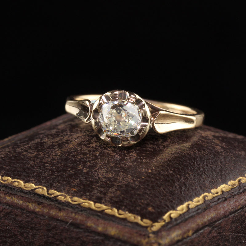 Antique Victorian 18K Yellow Gold Old Mine Cut Diamond Engagement Ring