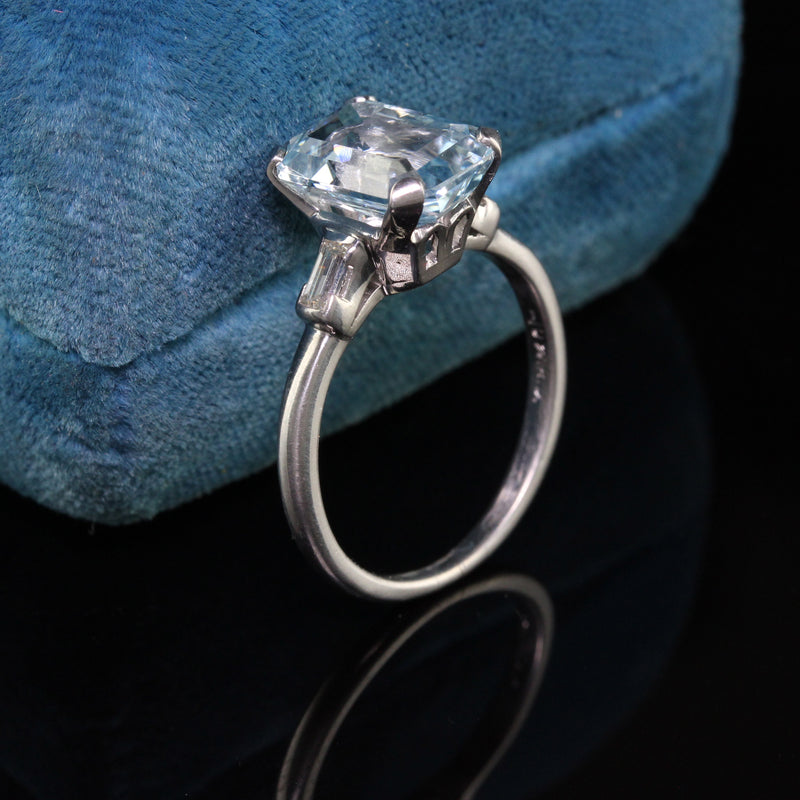 Antique Art Deco Platinum Emerald Cut Aquamarine Engagement Ring