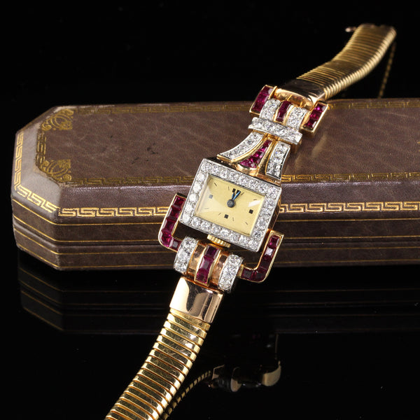 Vintage Retro 18K Yellow Gold Diamond & Ruby Watch