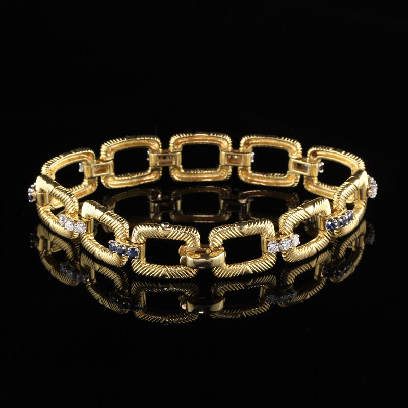 Cartier Platinum and 18 Karat Yellow Gold Diamond and Sapphire Bracelet