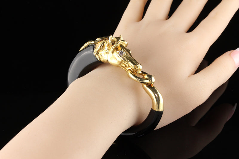 Vintage 18 Karat Yellow Gold and Onyx Diamond Horse Bangle