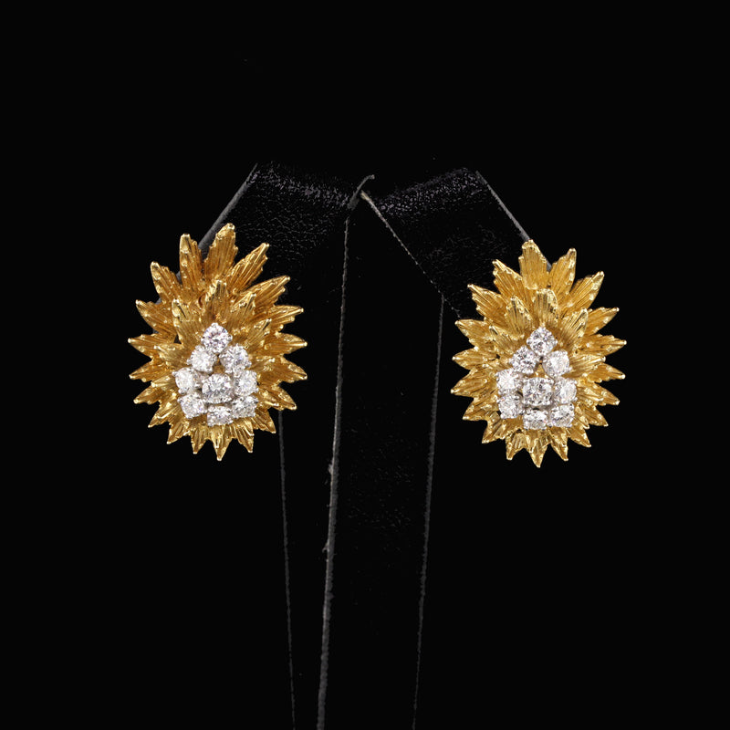 Yard 18 Karat Yellow Gold Diamond Earrings