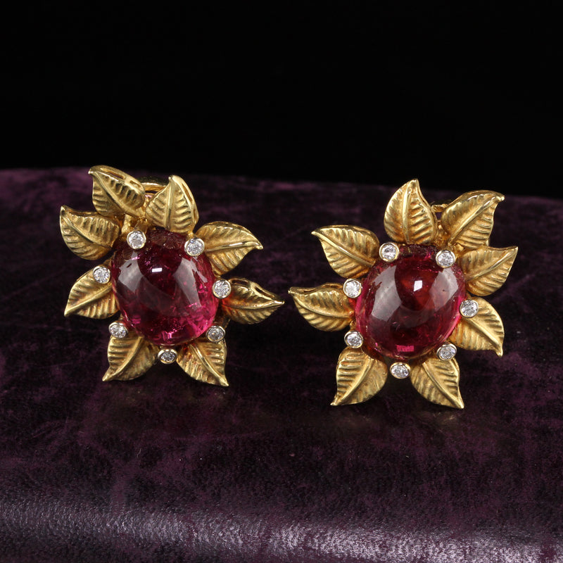 Toros Vintage 18 Karat Yellow Gold Diamond and Tourmaline Flower Earrings