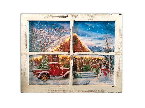 """Country Store Christmas"" Fiber Optic Lighted Canvas Shadow Box"