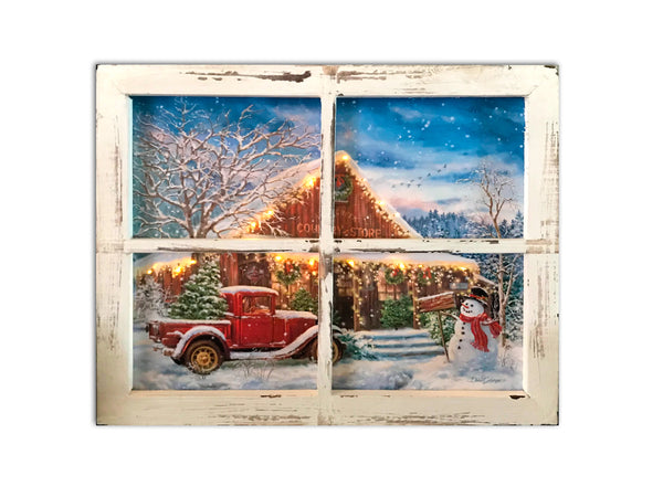 Country Store Christmas Fiber Optic Lighted Canvas Shadow Box