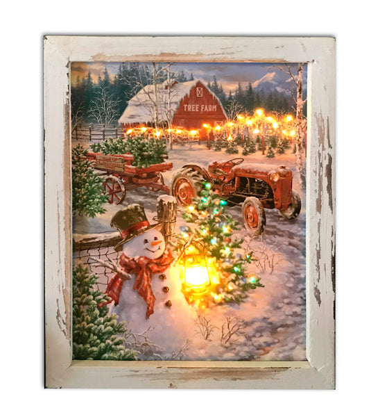 """Christmas Tree Farm"" Fiber Optic Lighted Canvas Shadow Box"