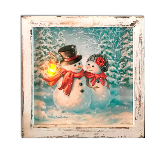 """Snow Much in Love"" LED Lighted Canvas Shadow Box"