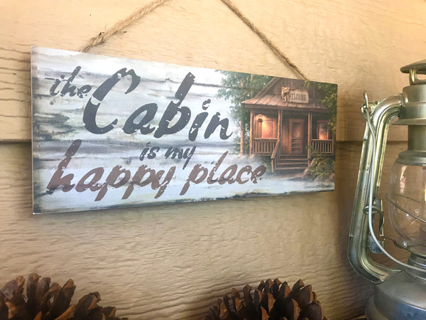 "Cabin Happy Place 4""x10"" Sign"