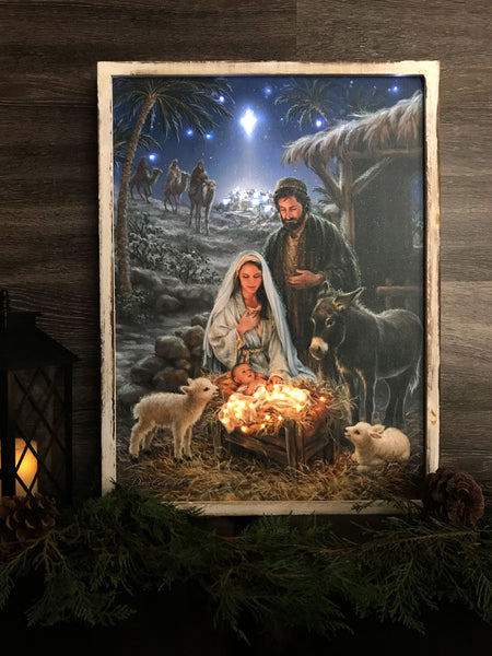 """A Savior is Born"" 18x24 Framed LED Fiber Optic Canvas with shimmering glitter."