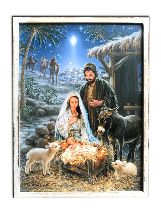 """A Savior is Born"" 18x24 Framed LED Fiber Optic Canvas"