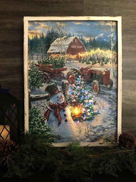 """The Tree Farm"" 18x24 Framed LED Fiber Optic Canvas with shimmering glitter."