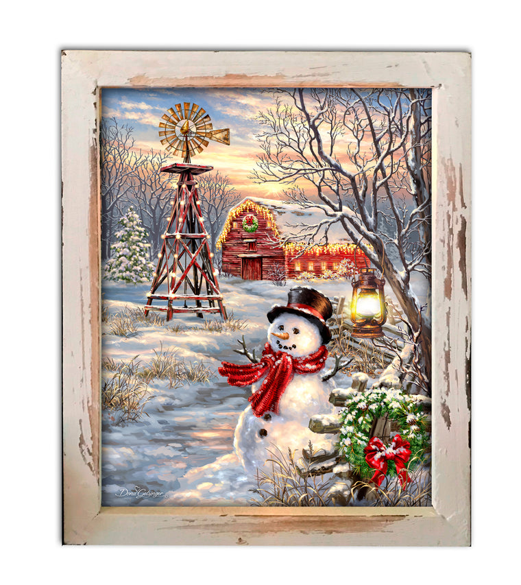 """Winter Windmill"" Fiber Optic Lighted Canvas Shadow Box"