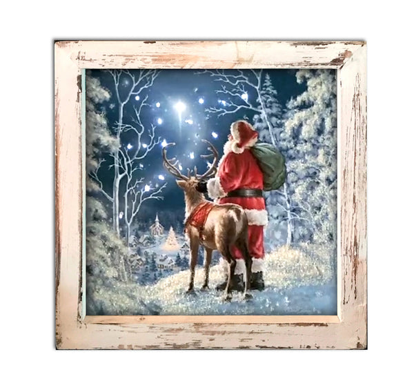 Starry Night Santa Fiber Optic Lighted Canvas Shadow Box