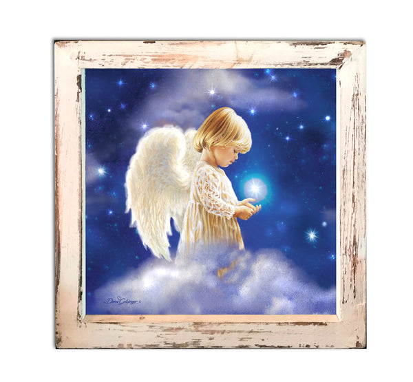 """Angel Star"" Fiber Optic Lighted Canvas Shadow Box"
