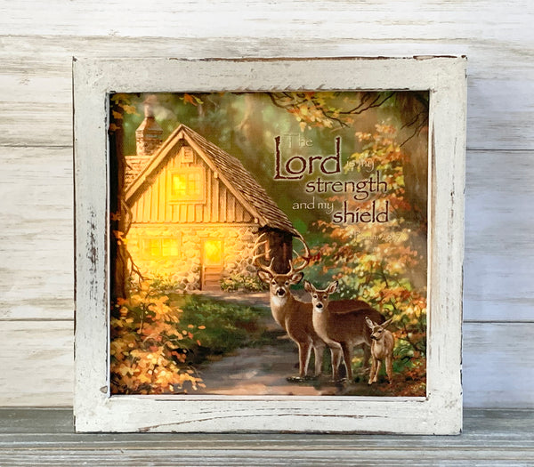 """The Lord is My Shepherd"" LED Lighted Canvas Shadow Box"