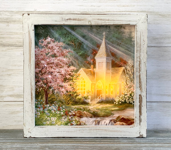 """Spring Chapel"" Fiber Optic LED Lighted Canvas Shadow Box"