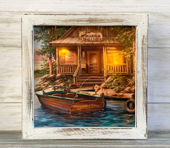 The Marina LED Lighted Canvas Shadow Box