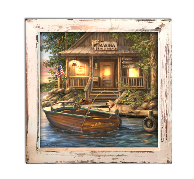 """The Marina"" LED Lighted Canvas Shadow Box"
