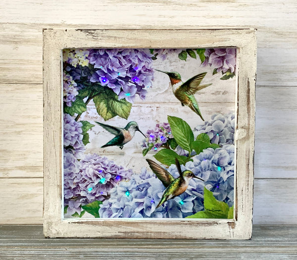 """Hummingbirds"" Fiber Optic Lighted Canvas Shadow Box"