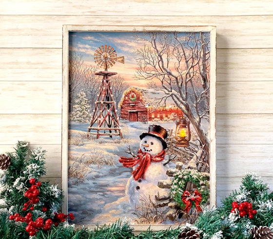 Winter Windmill 18x24 Framed LED Fiber Optic Canvas with shimmering glitter.