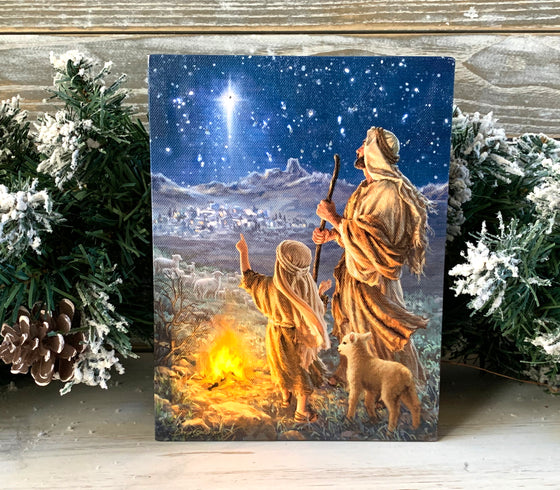 Shepherds Keeping Watch - Lighted Tabletop Canvas 8x6