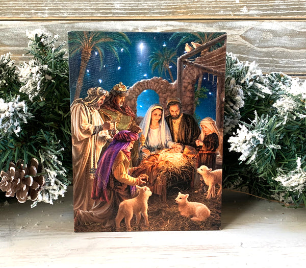 The Nativity - Lighted Tabletop Canvas 8x6