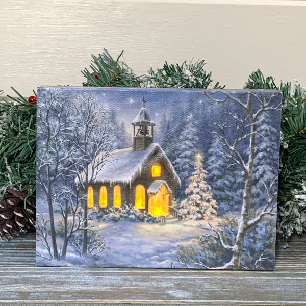 The Chapel - Lighted Tabletop Canvas 8x6