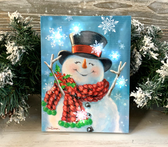 Joyful Jolly Snowman - Lighted Tabletop Canvas 8x6
